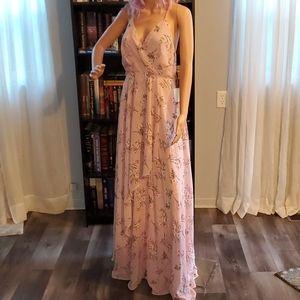 Lulu's Pink Floral Maxi Dress